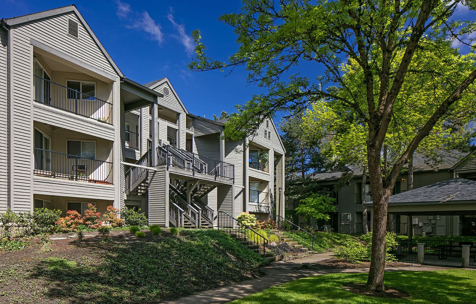 Apartment building exterior at The Terraces at Tanasbourne in Hillsboro, OR