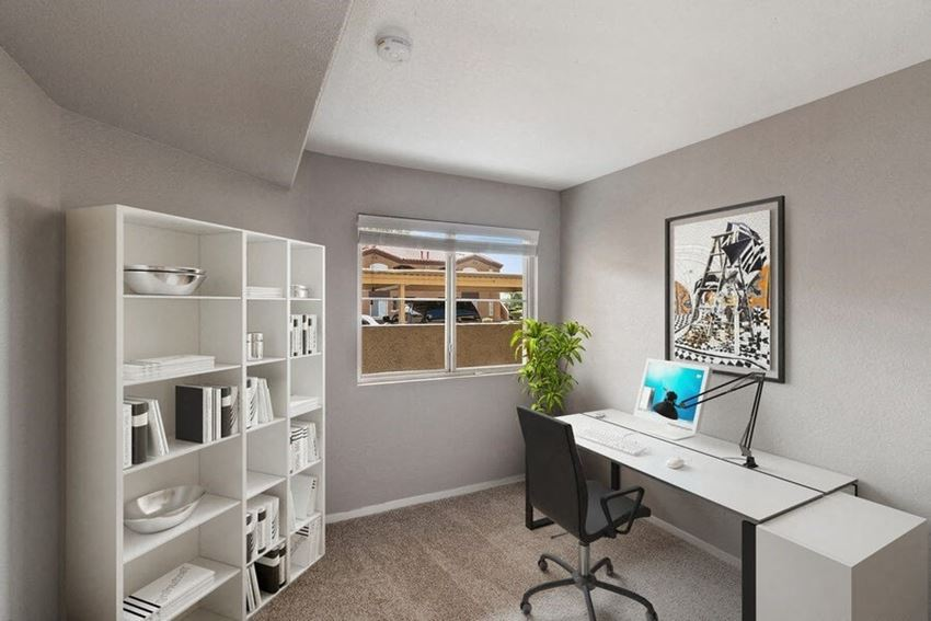 Bedroom turned into office with small window
