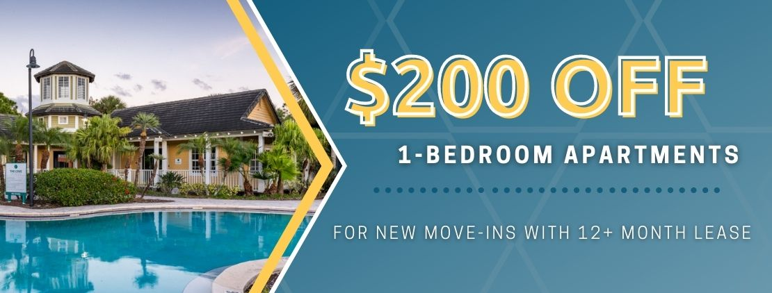 $200 OFF 1 bedroom apartments. For new move-ins with a 12+ month lease.
