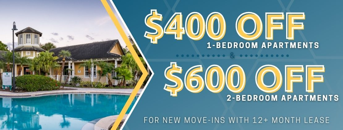 $400 OFF 1-bedrooms and $600 OFF 2-bedrooms. For new move-ins with a 12+ month lease.