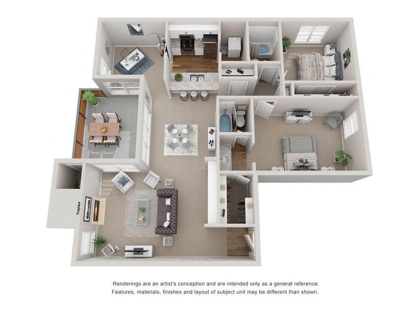 2 Bedroom 2 Bathroom 3D Floor Plan