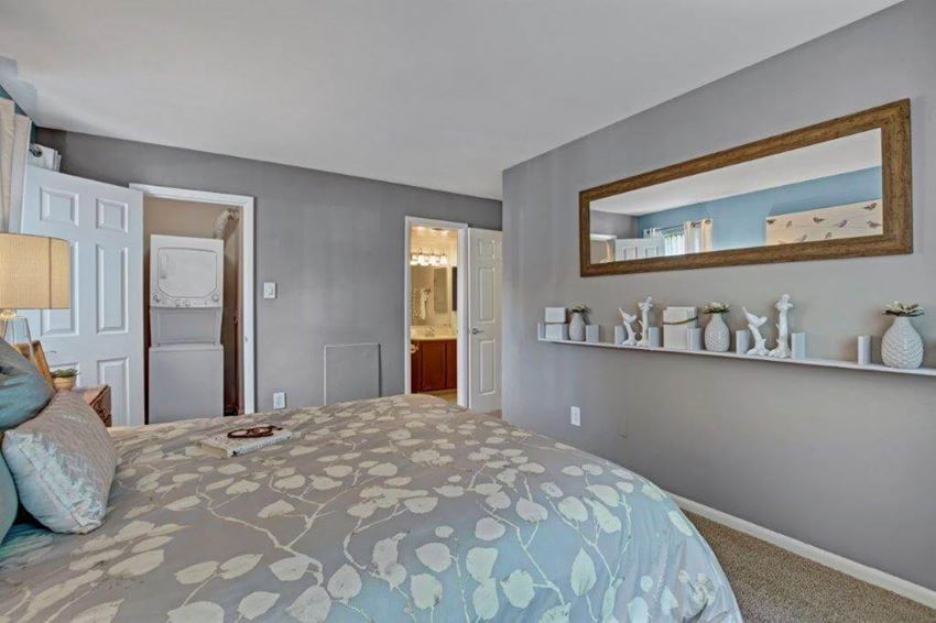 Model bedroom  with laundry and bathroom