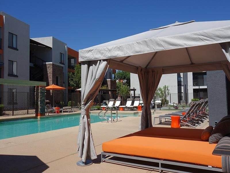 Swimming pool with cabana