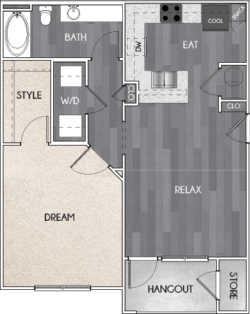 Our A1 one bedroom, one bath floor plan. Argento at Riverwatch Apartments in Augusta, GA.
