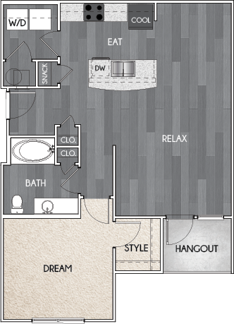 Our A2 one bedroom, one bath floor plan. Argento at Riverwatch Apartments in Augusta, GA.