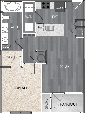 Our A4 one bedroom, one bath floor plan. Argento at Riverwatch Apartments in Augusta, GA.