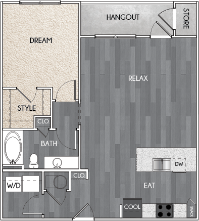 Our A5 one bedroom, one bath floor plan. Argento at Riverwatch Apartments in Augusta, GA.