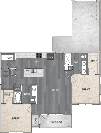 Our B1.1 two bedroom, two bath, and one or two direct access garage floor plan. Argento at Riverwatch Apartments in Augusta, GA.