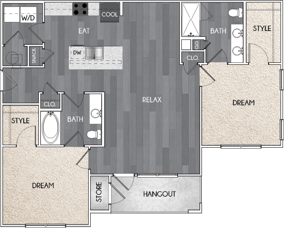 Our B1 two bedroom, two bath floor plan. Argento at Riverwatch Apartments in Augusta, GA.