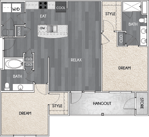 Our B2 two bedroom, two bath floor plan. Argento at Riverwatch Apartments in Augusta, GA.