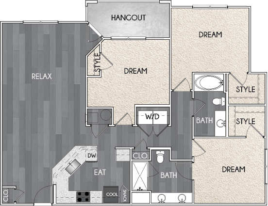 Our C2 three bedroom, two bath floor plan. Argento at Riverwatch Apartments in Augusta, GA.