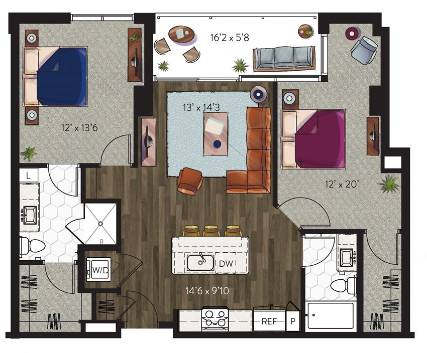 Dallas 2 bedroom apartment home