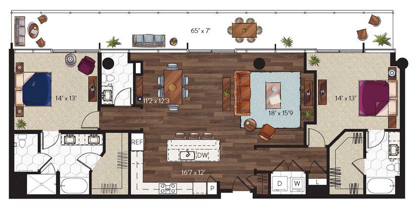 2 bedroom dallas penthouse