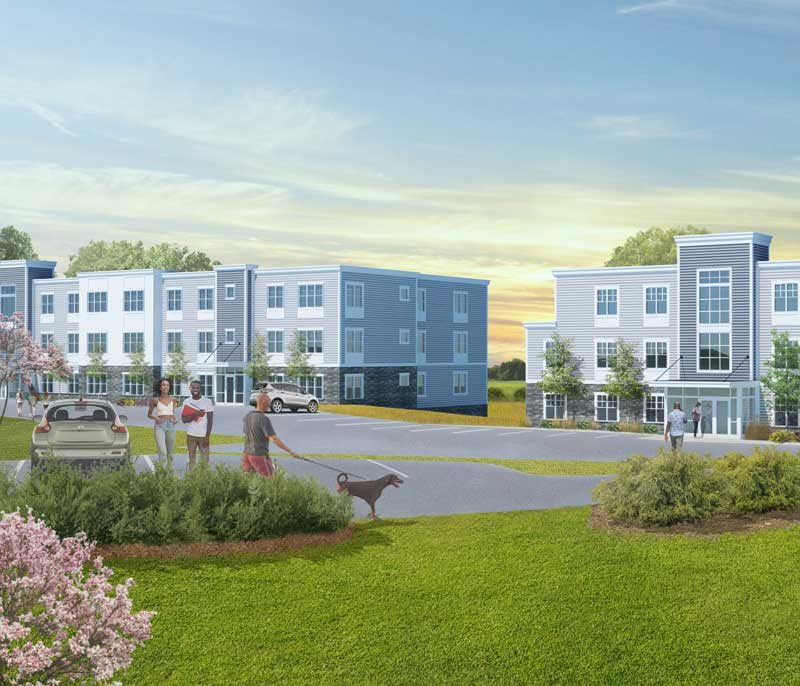 Rendering shows two 3-story buildings, diverse community, professional landscaping