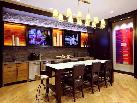 Communal kitchen with TVs and seating