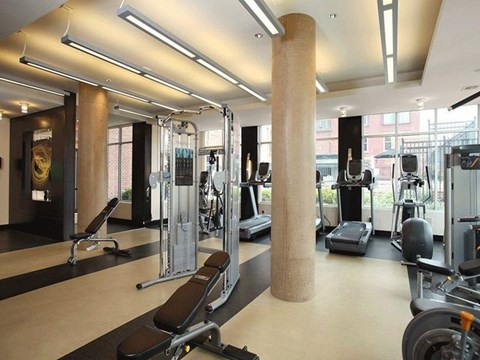 Fitness center with large windows, treadmills and workout benches