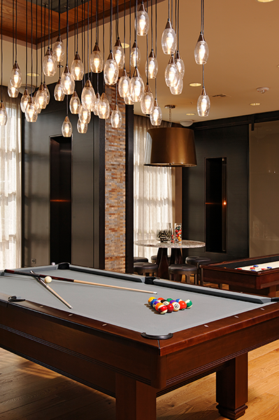 Pool table and chandelier