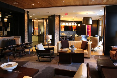 Resident lounge with plush seating and modern details