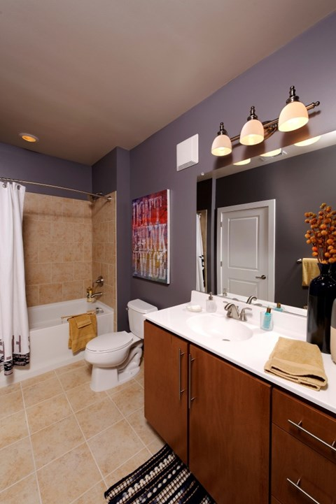 Bathroom with tub/shower combo, toilet and sink