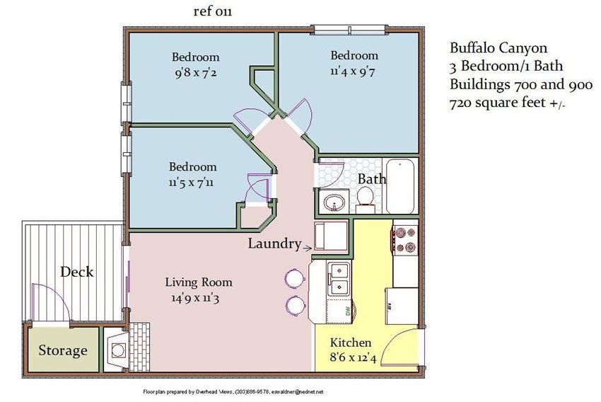 Buffalo Canyon 3 Bedroom 1 Bathroom Floor Plan