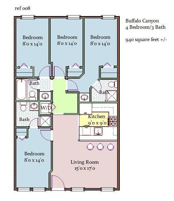 Buffalo Canyon 4 Bedroom 3 Bathroom Floor Plan