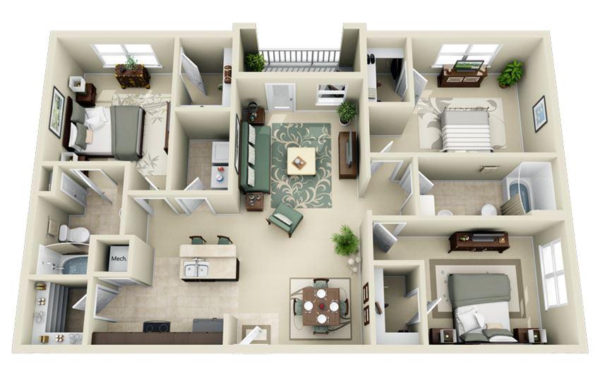 C1 Floor Plan at Carolina Point Apartments, South Carolina