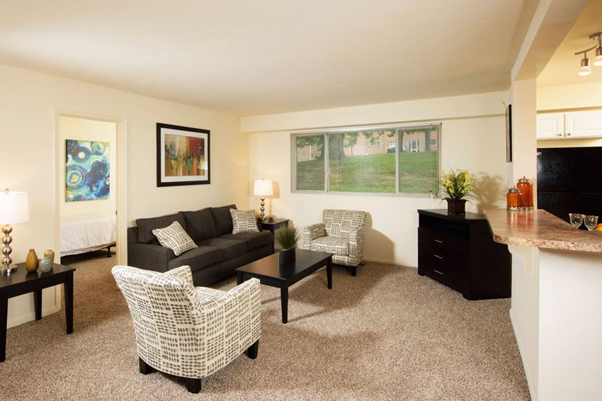 Modern Living Room at Cardiff Hall Apartments, Towson, MD,21204
