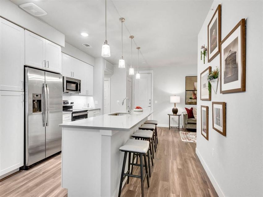 Kitchen With White Cabinetry And Appliances at Gateway Arvada Ridge, Arvada, CO, 80002