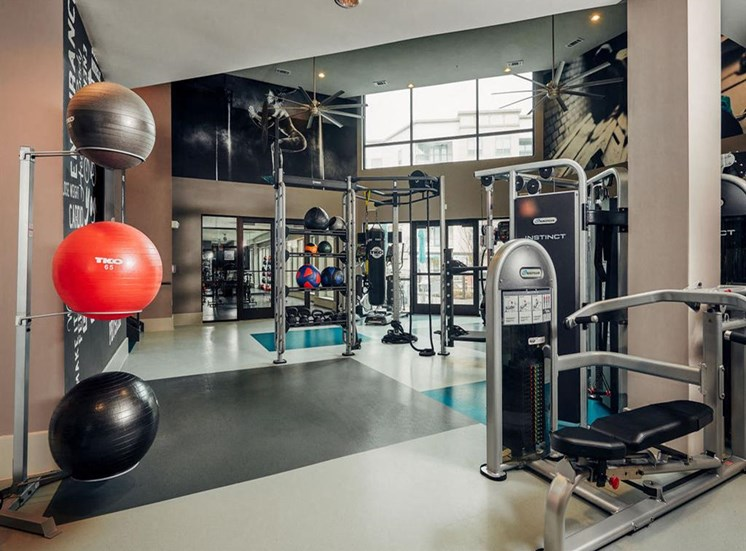 24hour fitness center with weight machines