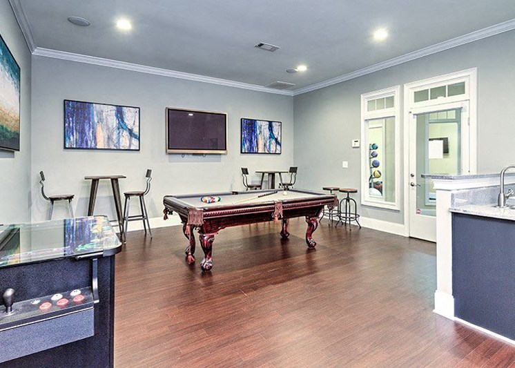 Have your friends over for a game of 8 ball at Abberly Green Apartment Homes by HHHunt, North Carolina, 28117