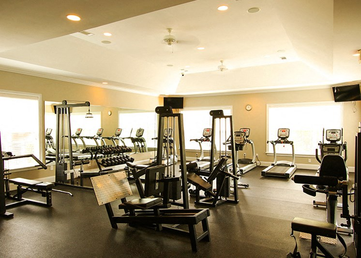 24-hour fitness center at Abberly Green Apartment Homes by HHHunt, North Carolina