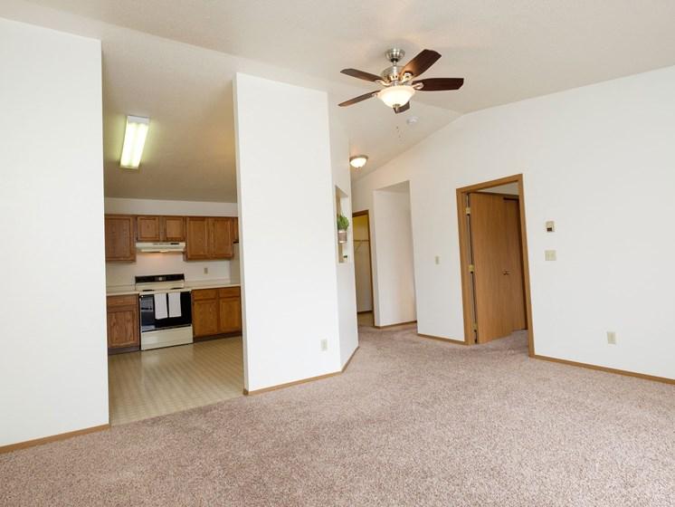 Flickertail I-VI Apartments | 1 Bdrm - Kitchen-Living Room