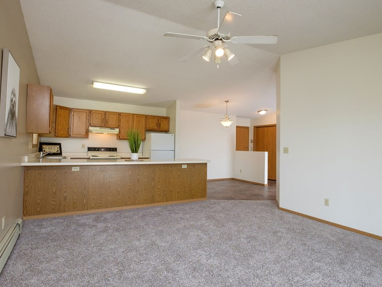 Flickertail I-VI Apartments | 2 Bdrm - Living Rm-Dining