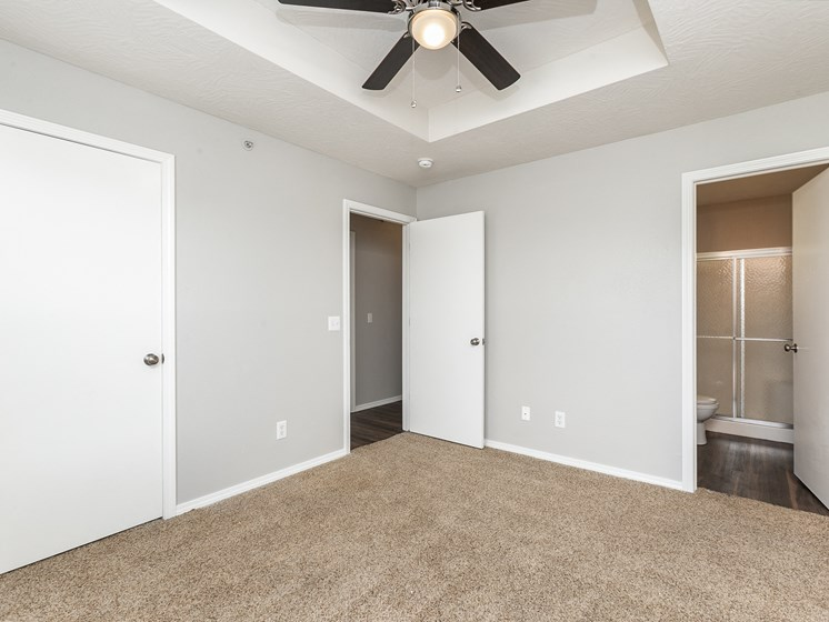 bedroom with new carpet