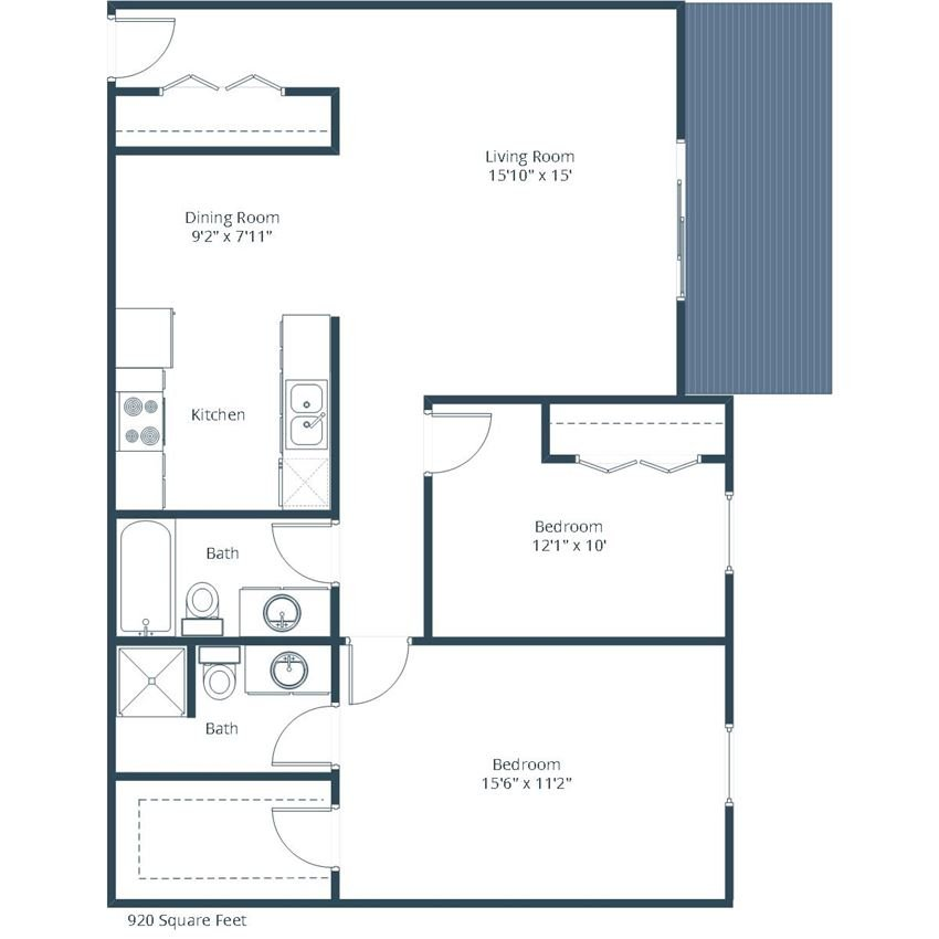 Evergreen Terrace Apartments | Two Bedroom Floor Plan 22A