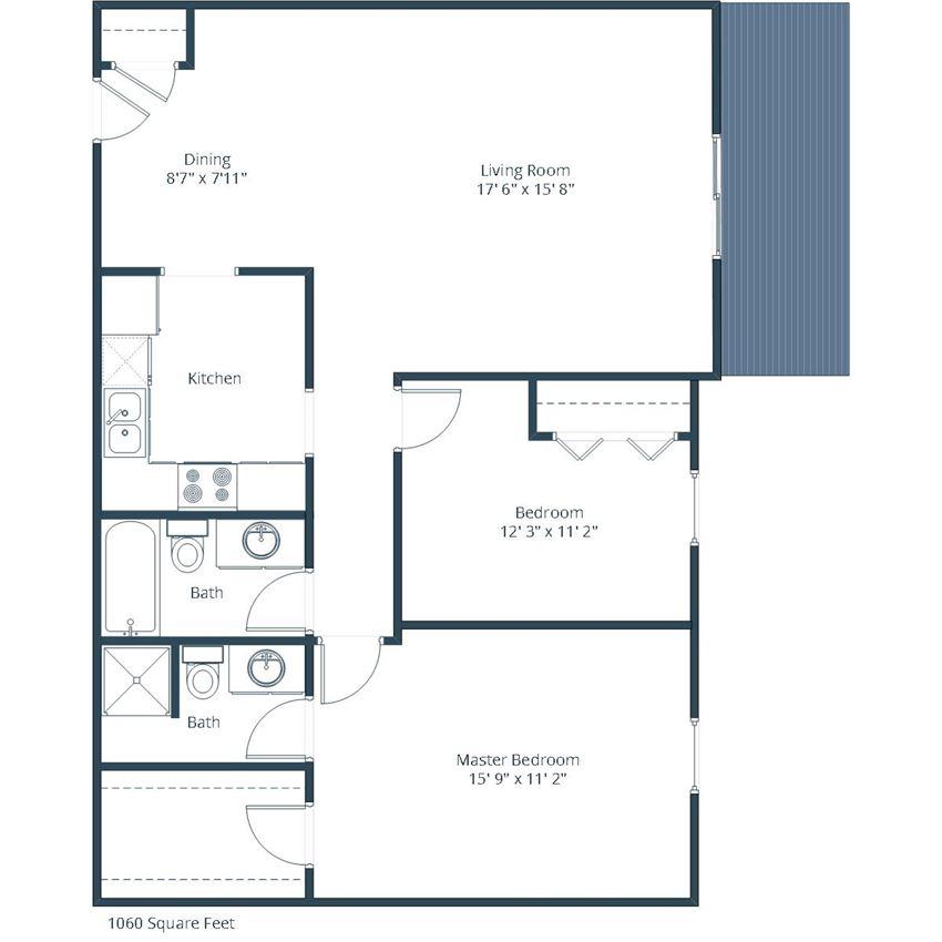 Evergreen Terrace Apartments | Two Bedroom Floor Plan 22B