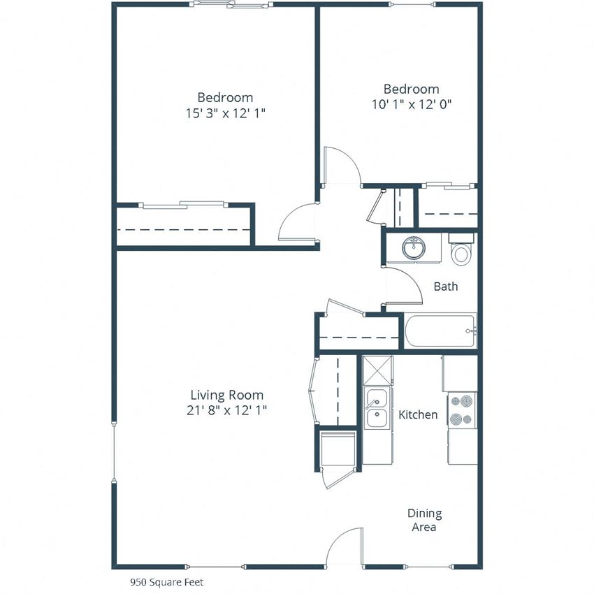 Woodland Pines Apartments | Two Bedroom Floor Plan A