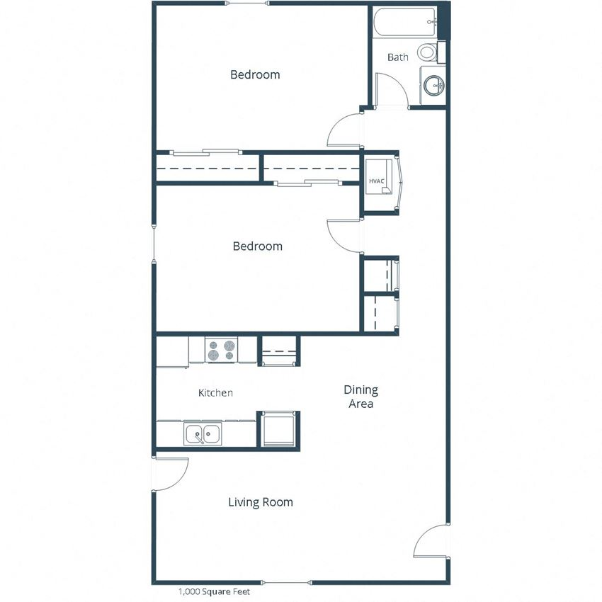 Woodland Pines Apartments | Two Bedroom Floor Plan B