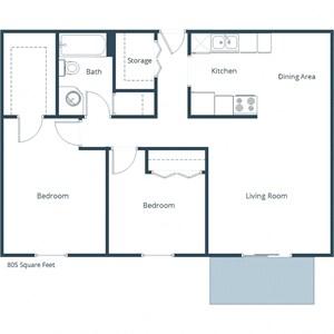Aldent Pines Two Bedroom Floor Plan
