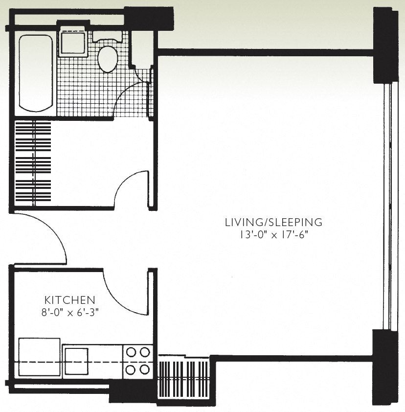 Studio unit layout. At Twin Towers, use our handy apartment finder to pick from our selection of one bedroom units for rent Hyde Park and two bedroom units for rent Hyde Park.
