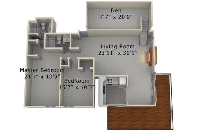 2 Bed 2 Bath Den