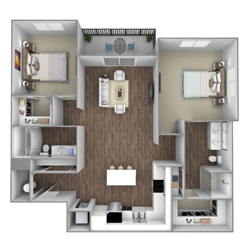 Floor Plan C: 2 Bedroom, 2 Bathroom - 1159 SF