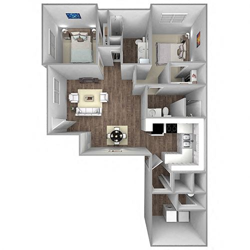 Floor Plan A14A: 2 Bedroom, 2 Bathroom - 1269 SF