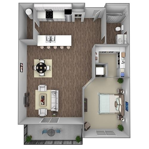 Floor Plan A2: 1 Bedroom, 1 Bathroom - 780 SF