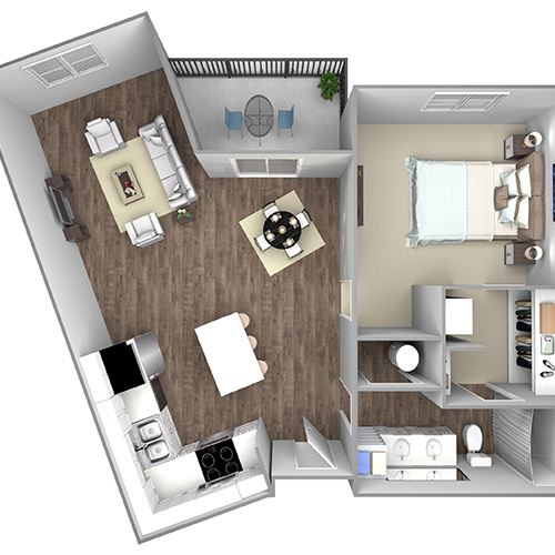 Floor Plan B3: 1 Bedroom, 1 Bathroom - 859 S