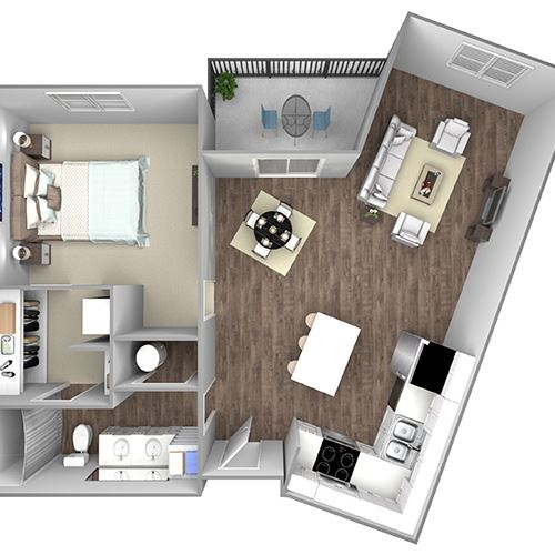 Floor Plan B3B: 1 Bedroom, 1 Bathroom - 851 SF