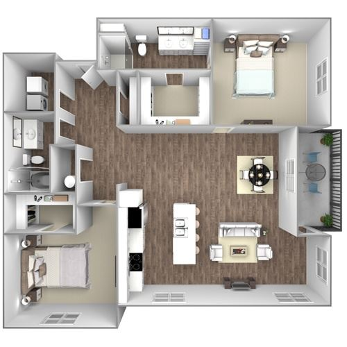 Floorplan E3: 2 Bedroom, 2 Bathroom - 1338 SF