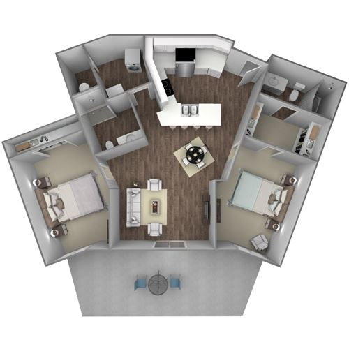 Floorplan F: 2 Bedroom, 2 Bathroom - 1106 SF