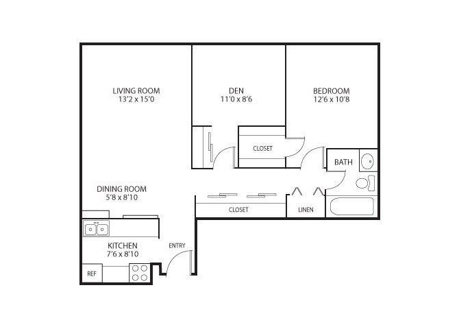 The Edina Towers Apartments in Edina, MN 1 Bedroom 1 Bath Plus Den
