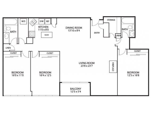 The Edina Towers Apartments in Edina, MN 3 Bedroom 2 Bath Penthouse